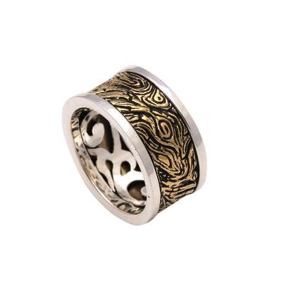Men's sterling silver and brass band ring, 'Sandstorm' - Men's Patterned Sterling Silver and Brass Band Ring