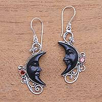 Garnet and horn dangle earrings, 'Face of Midnight'