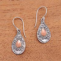 Gold-accented sterling silver dangle earrings, 'Teardrops of Beauty'