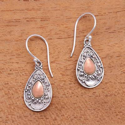 Gold accented sterling silver dangle earrings, 'Teardrops of Beauty' - Handmade Gold Accented Sterling Silver Dangle Earrings