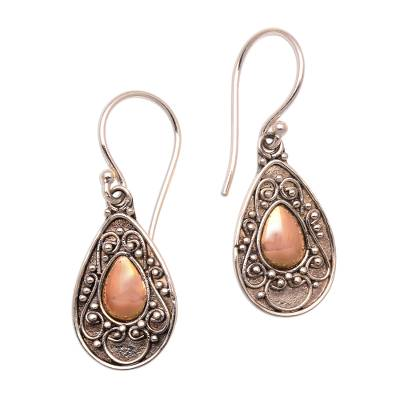 Gold-accented sterling silver dangle earrings, 'Teardrops of Beauty' - Handmade Gold-Accented Sterling Silver Dangle Earrings