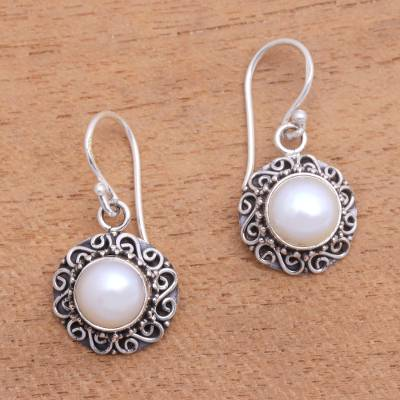 Cultured pearl dangle earrings, 'Silver-White Flowers' - Floral Silver-White Cultured Pearl Earrings from Bali