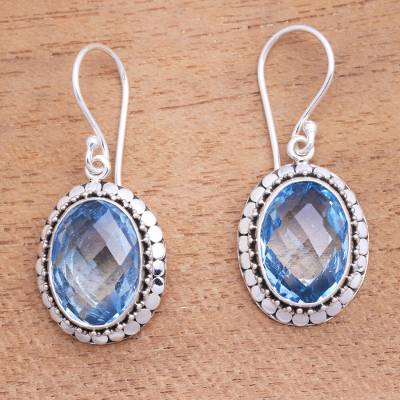 Blue topaz dangle earrings, Sparkling Lake