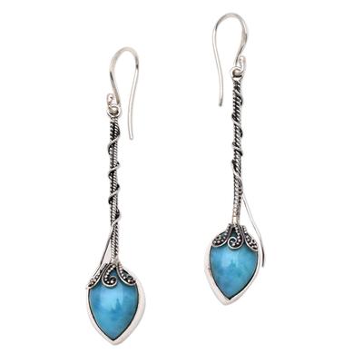 Teardrop Amazonite Dangle Earrings from Bali