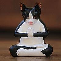 Wood sculpture, 'Meditating Tuxedo Kitty' - Wood Sculpture of a Meditating Tuxedo Cat from Bali
