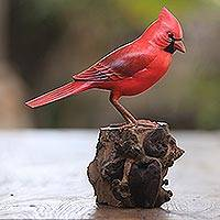 Wood sculpture, 'Perched Virginia Cardinal' - Hand-Painted Wood Virginia Cardinal Sculpture from Bali