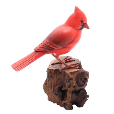 Wood sculpture, 'Perched Virginia Cardinal' - Hand-Painted Wood Virginia Cardinal Sculpture from Bali