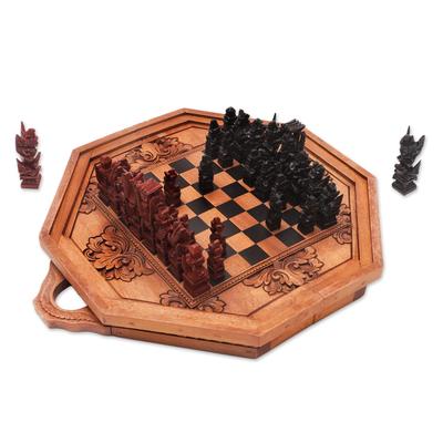 Octagonal Cempaka Wood Travel Chess Set from Bali