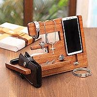 Wood organizer, 'Singaraja Natural' - Natural-Finish Jempinis Wood Organizer from Bali