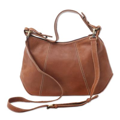 Handmade Leather Handbag in Sepia from Java