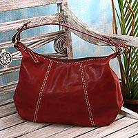 Leather handbag, 'Simple Fashion in Maroon' - Handmade Leather Handbag in Maroon from Java
