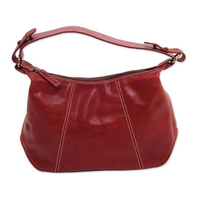 Handmade Leather Handbag in Maroon from Java