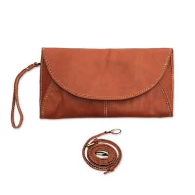 Leather Envelope Handbag in Sepia from Java