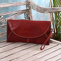 Leather handbag, 'Easygoing in Maroon' - Leather Envelope Handbag in Maroon from Java