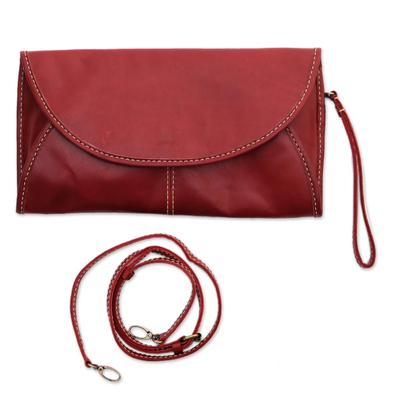 Leather Envelope Handbag in Maroon from Java