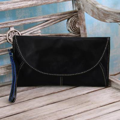Leather handbag, Easygoing in Black