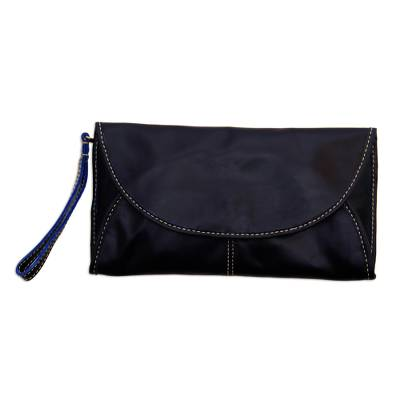 Leather Envelope Handbag in Black from Java