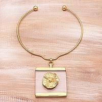 Gold plated choker pendant necklace, 'Modern Frill' - 18k Gold Plated Brass Choker Pendant Necklace from Bali