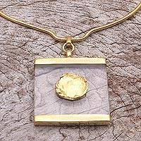 Gold plated collar pendant necklace, 'Framed Beauty' - Modern Gold Plated Brass Collar Pendant Necklace from Bali