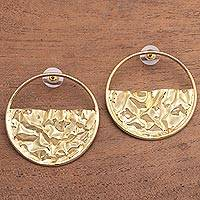 Gold plated brass drop earrings, 'Surface Waves' - Circular Modern Gold Plated Brass Drop Earrings from Bali