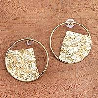 Gold plated stainless steel drop earrings, 'Angular Waves' - Angular Modern 18k Gold Plated Brass Drop Earrings from Bali
