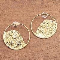Gold plated stainless steel drop earrings, 'Curved Waves' - Curvy 18k Gold Plated Brass Drop Earrings from Bali
