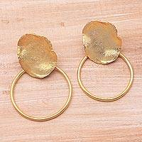 Gold plated stainless steel dangle earrings, 'Abstract Orbit' - Abstract 18k Gold Plated Brass Dangle Earrings from Bali