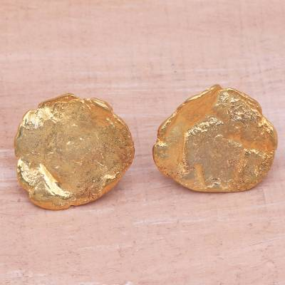 Gold plated stainless steel button earrings, 'Resplendent Petals' - Abstract 18k Gold Plated Brass Button Earrings from Bali