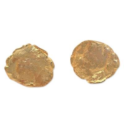 Abstract 18k Gold-Plated Brass Button Earrings from Bali