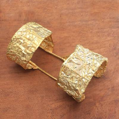 Gold plated cuff bracelet, 'Queen's Accessory' - 18k Gold Plated Brass Double Cuff Bracelet from Bali