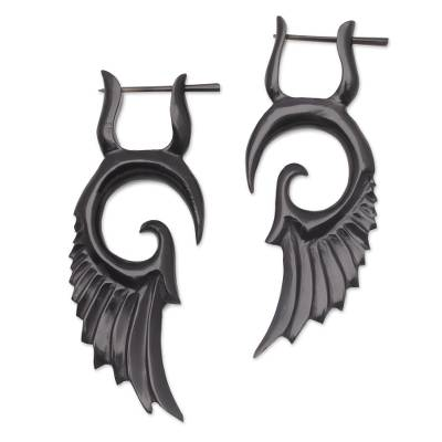 Hand-Carved Horn Wing Drop Earrings from Bali