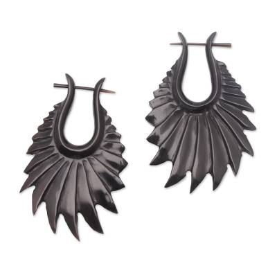 Hand-Carved Frill Pattern Horn Drop Earrings from Bali