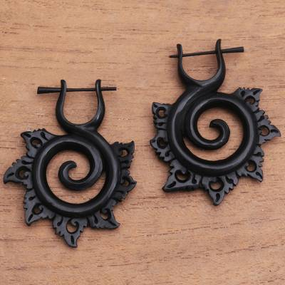 Horn drop earrings, 'Dark Chakra' - Hand-Carved Spiral Horn Drop Earrings from Bali