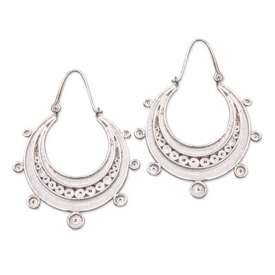 Sterling Silver Filigree Hoop Earrings from Java