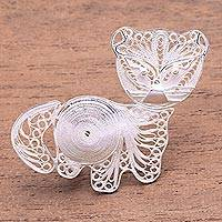 Sterling silver filigree brooch, 'Intricate Kitten' - Sterling Silver Filigree Kitten Brooch from Java