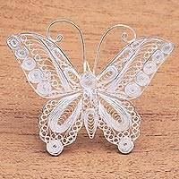 Sterling silver filigree brooch, 'Intricate Butterfly' - Sterling Silver Filigree Butterfly Brooch from Java