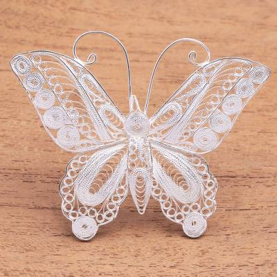 Sterling silver filigree brooch, Intricate Butterfly