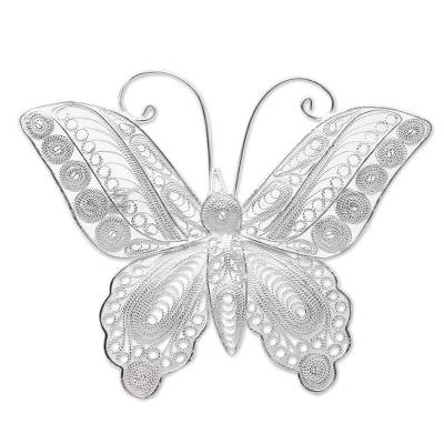Sterling Silver Filigree Butterfly Brooch from Java