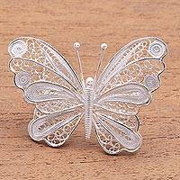 Sterling silver filigree brooch, 'Mesmerizing Butterfly' - Butterfly Brooch Crafted from Sterling Silver Filigree