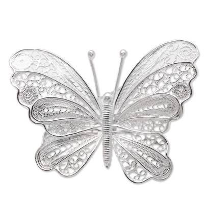 Butterfly Brooch Crafted from Sterling Silver Filigree