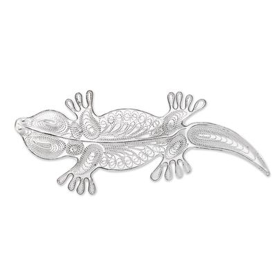 Sterling Silver Filigree Lizard Brooch from Java