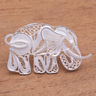 Sterling silver filigree brooch, 'Intricate Elephant' - Sterling Silver Filigree Elephant Brooch from Java