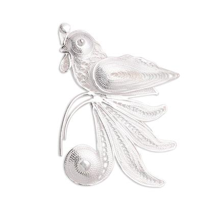 Sterling Silver Filigree Parrot Brooch from Java