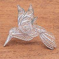 Sterling silver filigree brooch, 'Intricate Hummingbird' - Sterling Silver Filigree Hummingbird Brooch from Java