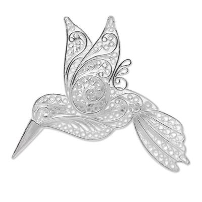 Sterling Silver Filigree Hummingbird Brooch from Java