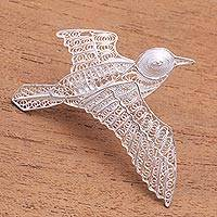 Sterling silver filigree brooch, 'Intricate Pigeon' - Sterling Silver Filigree Pigeon Brooch from Java