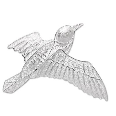 Sterling Silver Filigree Pigeon Brooch from Java