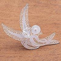 Sterling silver filigree brooch, 'Intricate Bird' - Sterling Silver Filigree Bird Brooch from Java