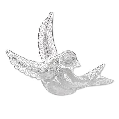 Sterling Silver Filigree Bird Brooch from Java