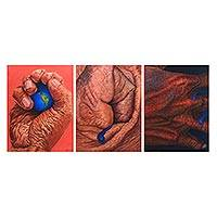 Triptych, 'Holding the World' (2006) - Surrealist Triptych of a Hand Holding the World (2006)